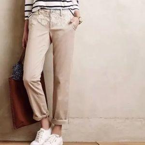 Anthropologie Pilcro Hyphen Lace Front Khaki Pants